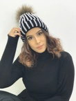 Black Diamante Fur Detachable Pom Pom Beanie Hat