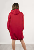 Red Oversized Hooded Sweater Dress