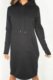 Black Pocket Front Baggy Hood Jumper Dress