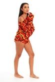 Orange  Aztec Multi Zig Zag Short Set-Copy-Copy