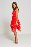 Red Layered Ruffle Prom Dress