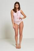 Baby Pink Applique Floral Mesh Bodysuit