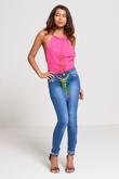 Pink Gold Chain Halter Neck Bodysuit