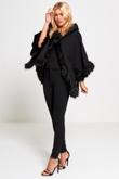 Black Faux Fur Hooded Cape