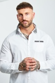 Mens Shape Printed Collar White Long Sleeve Shirt
