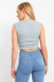Grey Lace Up Front Ribbed Crop Top
