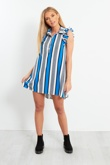 Blue and White Striped Shirt Dress