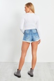 Blue Denim Crochet Hem Shorts