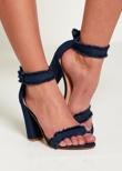 Blue Denim Fray Strap Heels