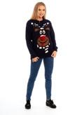 Pom Pom Reindeer Scarf Knitted Christmas Jumper