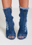 Denim Peep Toe Distressed Ankle Heels