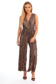 Brown Leopard Print Pleat Jumpsuit