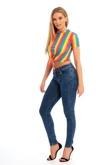 Womens Rainbow Stripped Tie Crop Top