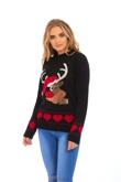 Black Suede Reindeer Christmas Jumper