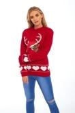 Red Suede Reindeer Christmas Jumper