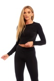 Black Crop Top and Legging Shorts Set
