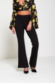Black High Waisted Flared Trousers