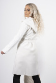 white waterfall hooded belted trench jacket