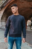 Mens Charcoal Plain Long Sleeve Crew Sweatshirt