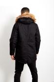 Mens Black Oversized Faux Fur Hooded Parka Coat