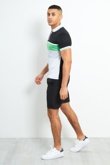 Colour block polo zipper shirt and shorts set