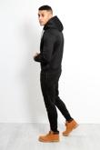 Mens Black Side Zip Detail Hooded Tracksuit