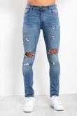 Mens Denim Distressed Skinny Fit Jeans