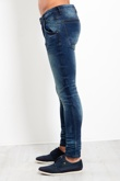 Mens Mid Blue Washed Denim Skinny Jeans