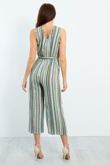 Green Striped Cross Over Belted Jumpsuit