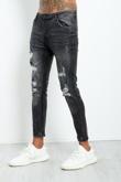Julian-Mens Black Faded Distressed Denim Jeans