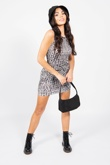 Black And White Croc Print Ruched Bodycon Dress
