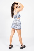 Blue Printed Crop Top and Flippy Shorts Set