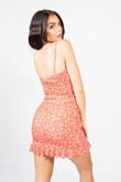 Red Ditsy Floral Ruched Bust Frill Hem Dress