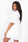 White V Neck Crochet Shirred Waist Dress