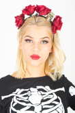Black Headband With Skull And Flower