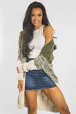 Khaki Colourblock Twist Knit Hood Cardigan