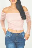 Nude Pink Mesh Bardot Crop Top