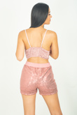 Blush Sequinned Bralet And Shorts Co-ord