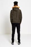 Mens Khaki Fleece Lined Fur Hood Bomber jacket