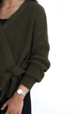 Khaki knit side tie jumper-Copy