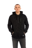 Mens Black Space Dye Hooded Top
