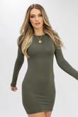 Khaki Jersey Long Sleeve Bodycon Dress
