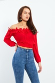 Red Crochet Neckline Bardot Crop Top