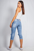Mid Wash Distressed Cropped Jeans