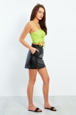 Pu Leather Elasticated Frill Waist Mini Skirt