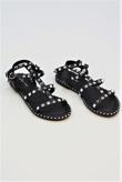 Black Ankle Strap Studded Sandals