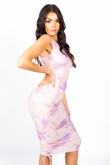 Lilac Tie Dye Ruched Bodycon Dress