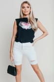Hayley Hughes Modelled Black Graphic Print Top With Shoulder Pads