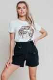 Hayley Hughes Modelled White Oversized Leopard Lip Print Tee
