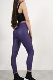 Purple Leather Look High Waist Leggings